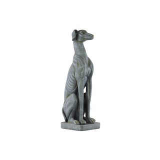 Fiberstone Concrete Finish Slate Gray Sitting Doberman Dog Statue on Base