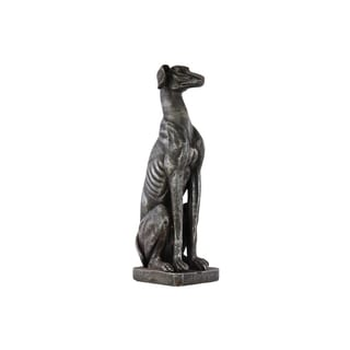 Fiberstone Glaze Finish Espresso Brown Sitting Doberman Dog Statue on Base