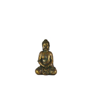 Fiberstone Meditating Buddha Figurine with Rounded Ushnisha in Dhyana Mudra Tarnished Finish Gold
