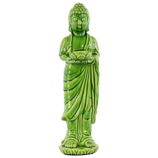 Ceramic Green Standing Buddha Figurine with Rounded Ushnisha on Lotus Base Holding a Bowl