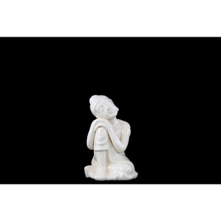 Ceramic Small Gloss White Sitting Buddha with Rounded Ushnisha and Resting Head on Knee Figurine