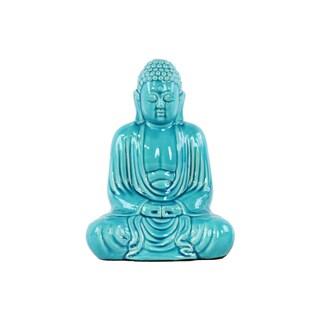 Ceramic Large Gloss Finish Blue Meditating Buddha Figurine with Rounded Ushnisha in Mida No Jouin Mudra
