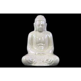 Ceramic Large Gloss White Finish Meditating Buddha Figurine with Rounded Ushnisha in Mida No Jouin Mudra