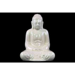 Ceramic Large Gloss White Finish Meditating Buddha Figurine with Rounded Ushnisha in Mida No Jouin Mudra