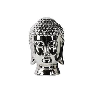 Ceramic Polished Chrome Finish Silver Buddha Head with Rounded Ushnisha