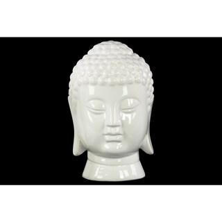 Ceramic Gloss Finish White Buddha Head with Rounded Ushnisha