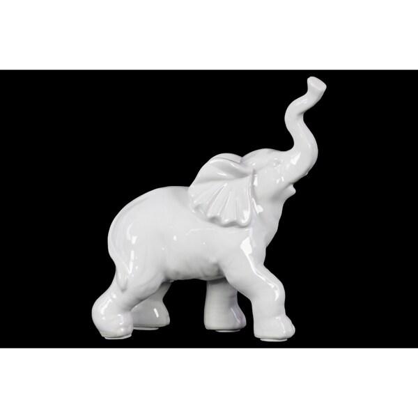 Gloss Finish White Porcelain Walking Trumpeting Elephant Figurine