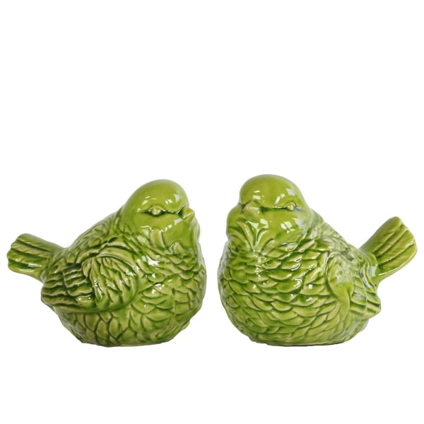 Glossy Apple Green Finish Ceramic Bird Figurine (Set of 2)