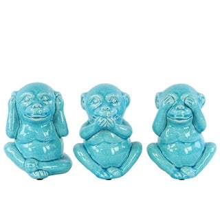 Glossy Turquoise Finish Ceramic Standing Monkey No Evil Figurines (Set of 3)