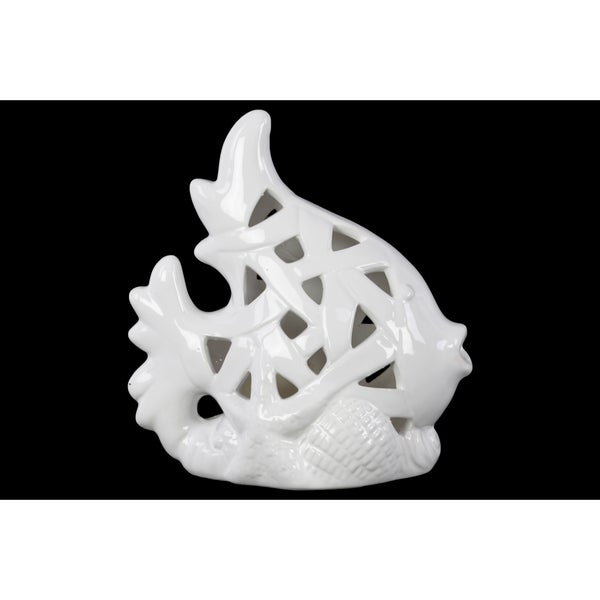 Glossy White Finish Ceramic Perforated Fish on Seaweed Base Figurine