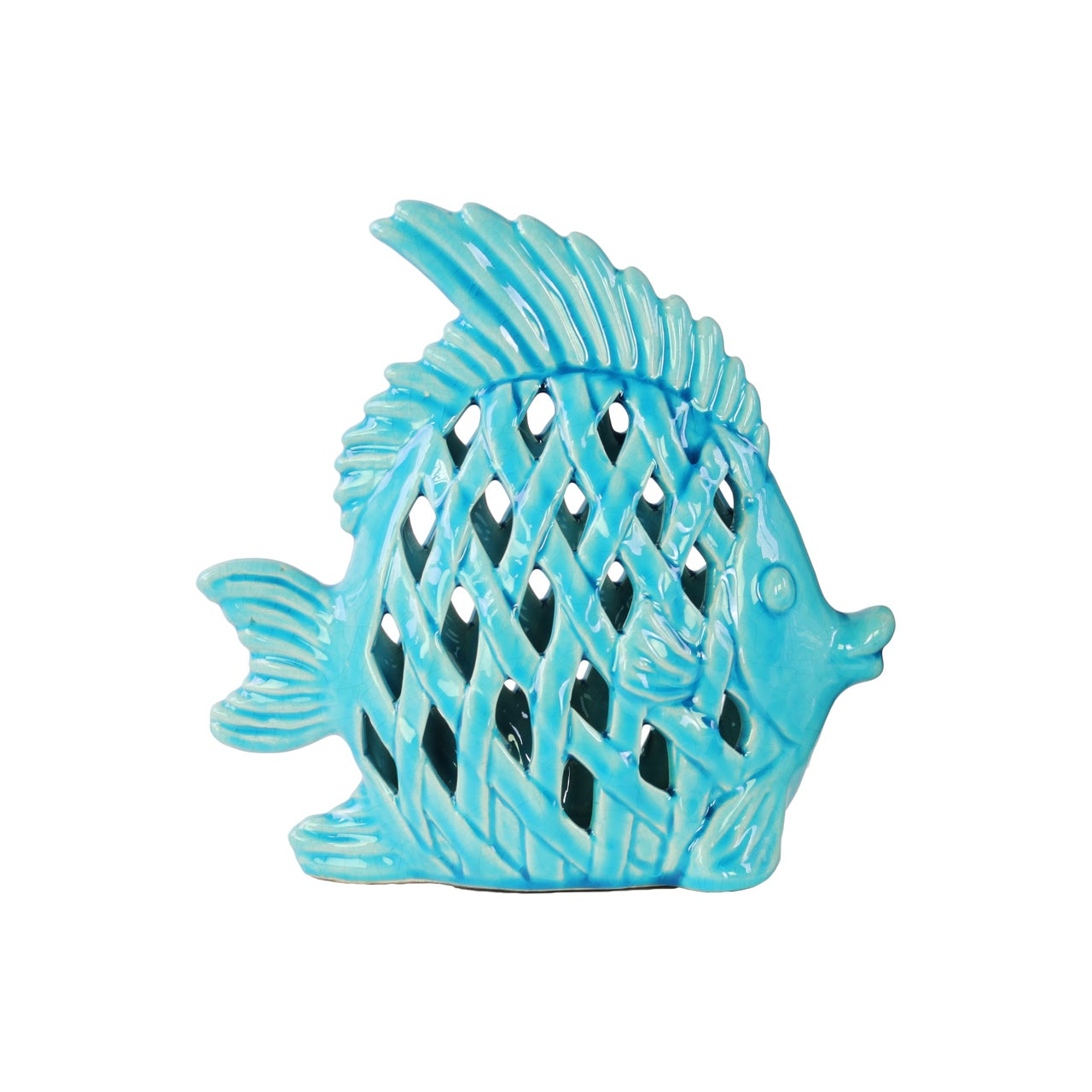 Urban Trend Glossy Turquoise Finish Ceramic Lattice Cutou...