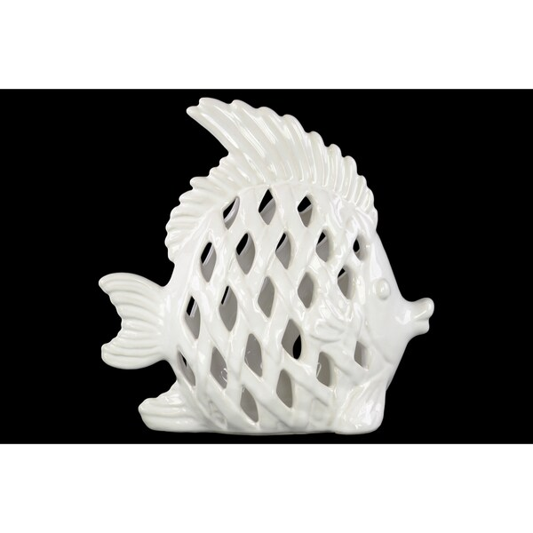 Glossy White Finish Ceramic Lattice Cutout Angel Fish Figurine