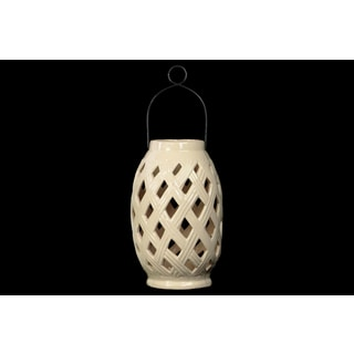 Cream Gloss Finish Ceramic Lantern with Cutout Design and Metal Handle