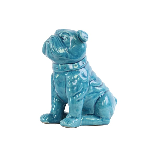 Ceramic Gloss Finish Turquoise Sitting British Bulldog Figurine with Collar