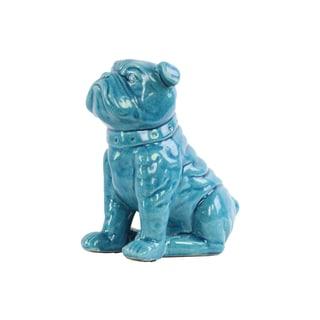 Ceramic Gloss Finish Turquoise Sitting British Bulldog Figurine with Collar