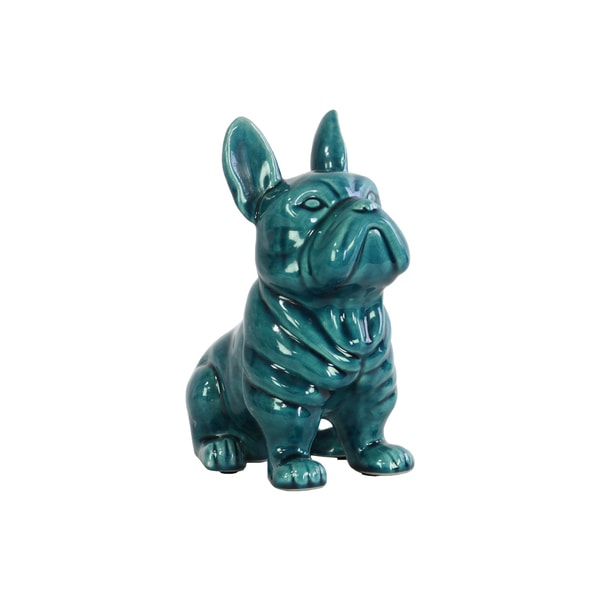 Ceramic Gloss Finish Turquoise French Bulldog Figurine with Pricked Ears