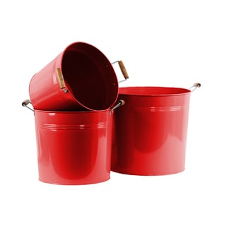 Coated Red Finish Metal Round Bucket with 2 Wood Handles (Set of 3)