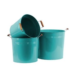 Coated Blue Finish Metal Round Bucket with 2 Wood Handles (Set of 3)