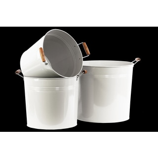 Coated White Finish Metal Round Bucket with 2 Wood Handles (Set of 3)