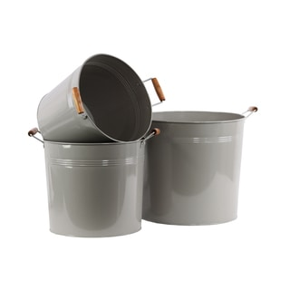 Coated Grey Finish Metal Round Bucket with 2 Wood Handles (Set of 3)