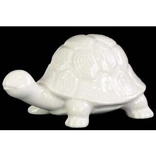 Glossy White Finish Ceramic Galapagos Tortoise Figurine
