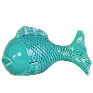 Ceramic Fish Figurine with Round Belly Gloss Finish Turquoise