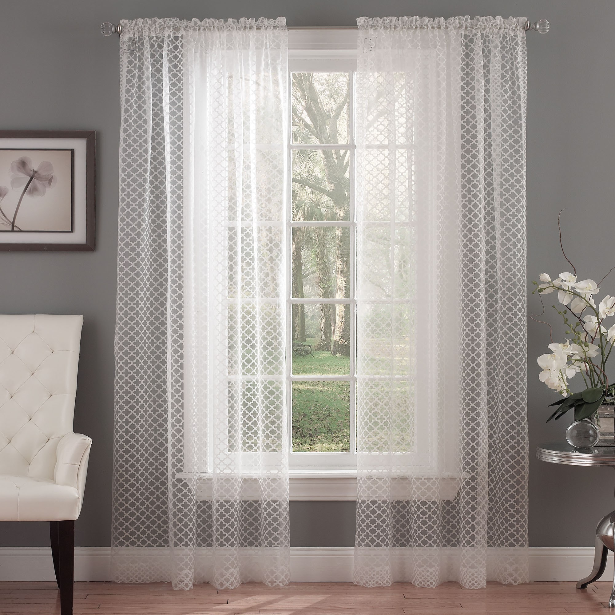Ivory Burnout Sheer Curtain Panel