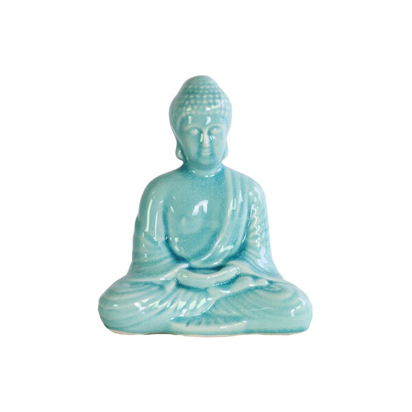 Ceramic Gloss Finish Sky Blue Meditating Buddha Figurine with Rounded Ushnisha in Dhyana Mudra