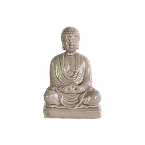 Ceramic Gloss Light Gray Meditating Buddha Figurine without Ushnisha in Mida-No Jouin Mudra on Base