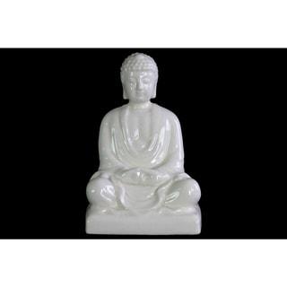 Ceramic Gloss Finish White Meditating Buddha Figurine without Ushnisha in Mida-No Jouin Mudra on Base