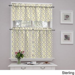 Traditions by Waverly Make Waves Tier and Valance Set (Option: 52X36 - Sterling)