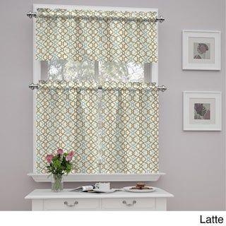 Traditions by Waverly Make Waves Tier and Valance Set (Option: 52X36 - latte)