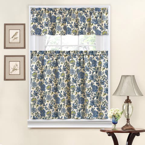 Traditions by Waverly Navarra Floral Tier and Valance Set - 52X36