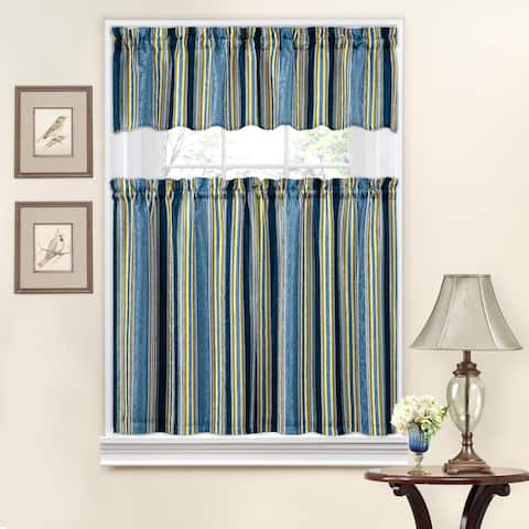 Traditions by Waverly Stripe Ensemble Tier and Valance Set - 52X36