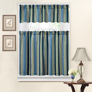 Traditions by Waverly Stripe Ensemble Tier and Valance Set