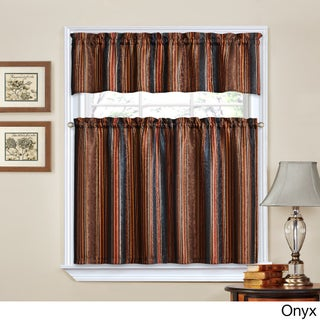 Traditions by Waverly Stripe Ensemble Tier and Valance Set (Option: ONYX)
