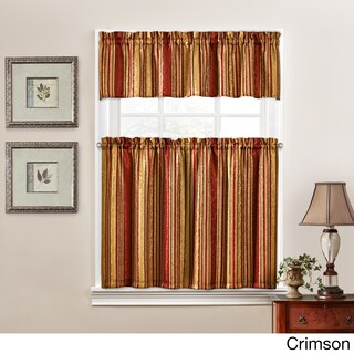Traditions by Waverly Stripe Ensemble Tier and Valance Set (4 options available)