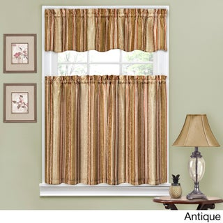 Traditions by Waverly Stripe Ensemble Tier and Valance Set (Option: Antique)