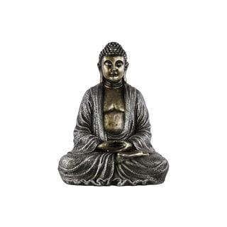 Antique Silver Finish Resin Meditating Buddha Figurine with Rounded Ushnisha in Mida-no Jouin Mudra