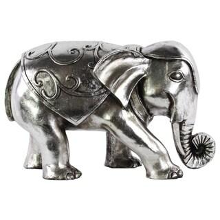 Chrome Silver Finish Resin Swirl Design Standing Elephant Figurine