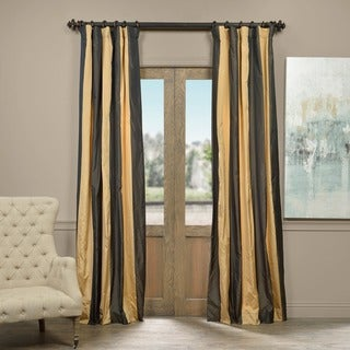 Exclusive Fabrics Madrid Faux Silk Taffeta Stripe Curtain Panel