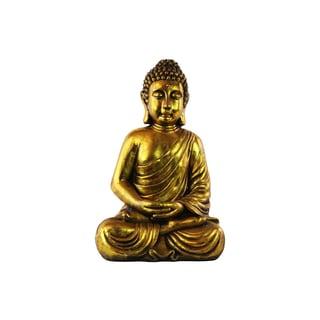 Resin Antique Gold Glaze Finish Meditating Buddha Figurine in Dhyana Mudra with Rounded Ushnisha