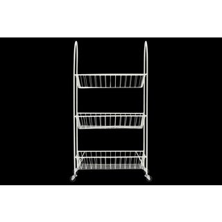 Metal Cart with 3 Wire Mesh Bins, Arched Frame Handles and 4 Casters Coated Finish White