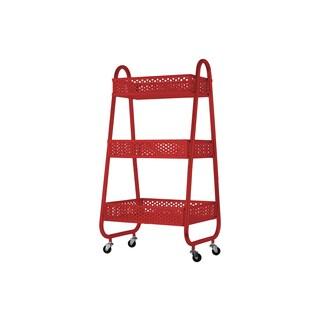 Urban Trends Perforated Bin Red Metal Cart