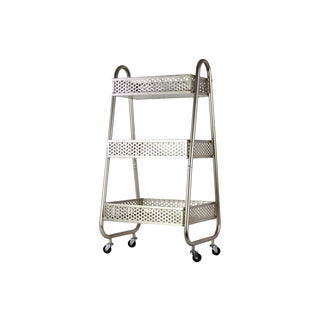 Urban Trends Perforated Bin Champagne Metal Cart