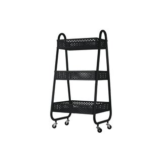 Metal Cart with 3 Peforated Bins, Arched Frame Handles and 4 Casters Coated Finish Black