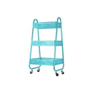 Metal Cart with 3 Peforated Bins, Arched Frame Handles and 4 Casters Coated Finish Blue