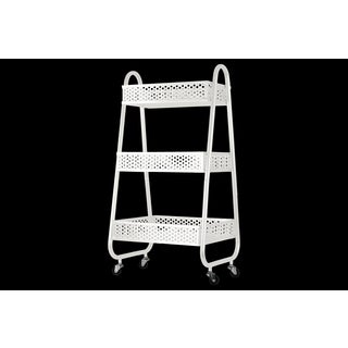 Metal Cart with 3 Peforated Bins, Arched Frame Handles and 4 Casters Coated Finish White