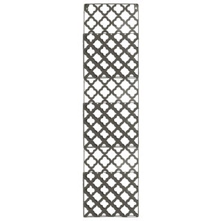 Metal Rectangular Wall Mail Organizer with 3 Tiers and Peforated Quatrefoil Pattern Coated Finish Gray