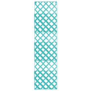 Metal Rectangular Wall Mail Organizer with 3 Tiers and Peforated Quatrefoil Pattern Coated Finish Blue